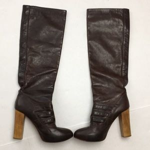 Chloe Knee High Brown Leather Boots 3 Buckles